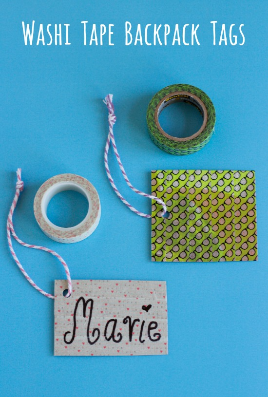 Cereal Box Washi Tape Backpack Tags
