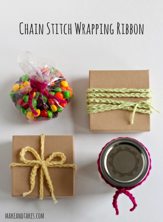 Chain Stitch Crochet Wrapping Ribbon @makeandtakes.com #crochetaday