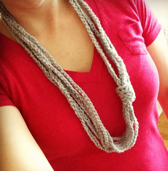 Chain stitch necklace wrapped
