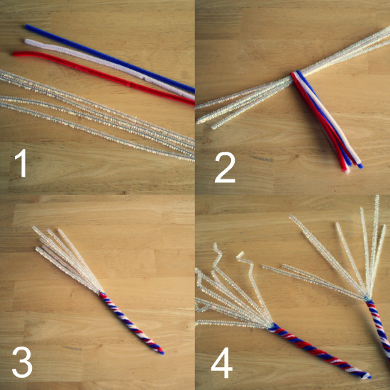 Chenille Stem Sparklers 4 of july Craft