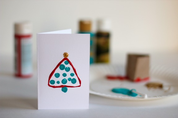 Christmas Trees Painted from Paper Tubes @makeandtakes.com