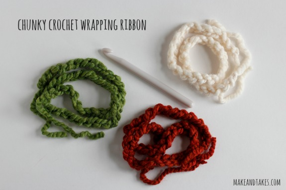Chunky Yarn Chain Stitch Wrapping Ribbon @makeandtakes.com #crochetaday
