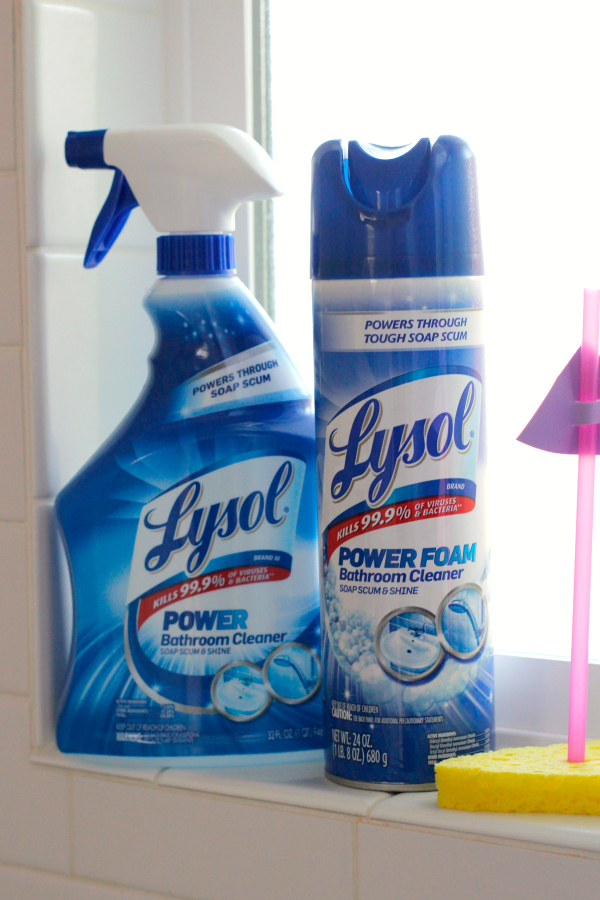 Cleaning with Lysol Power Bathroom line