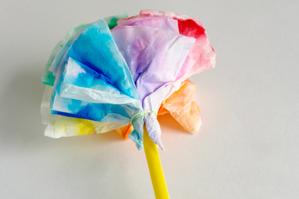 Coffee Filters and Straw Flowers Kids Craft