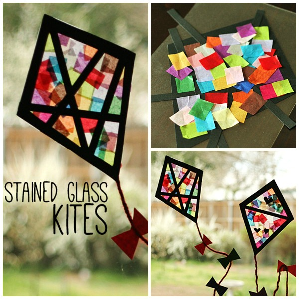Colorful Stained Glass Kites Kids Craft