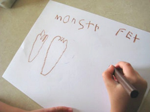 Coloring Monster Feet Craft