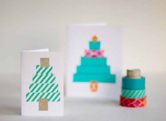 Crafting Washi Tape Holiday Trees @makeandtakes.com