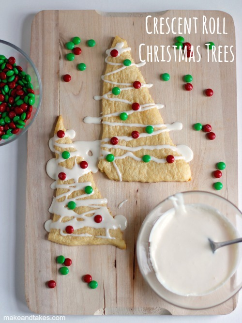 Crescent Roll Christmas Tree Treats @makeandtakes.com