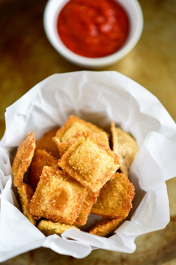 Crispy fried ravioli with Marinara Sauce