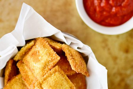 Crispy fried ravioli with Marinara Sauce