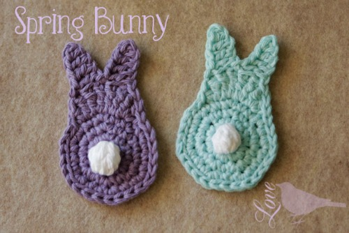 Crochet Bunny Applique Pattern from lovethebluebird.blogspot.ca