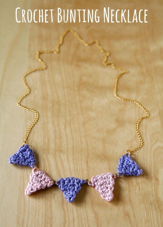 Crochet Bunting Necklace by caughtonawhim.com for @makeandtakes.com #crochetaday