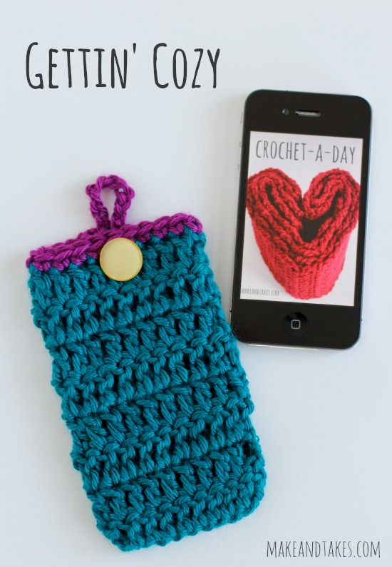 Crochet Button Phone Cozy Tutorial @makdandtakes.com #crochetaday