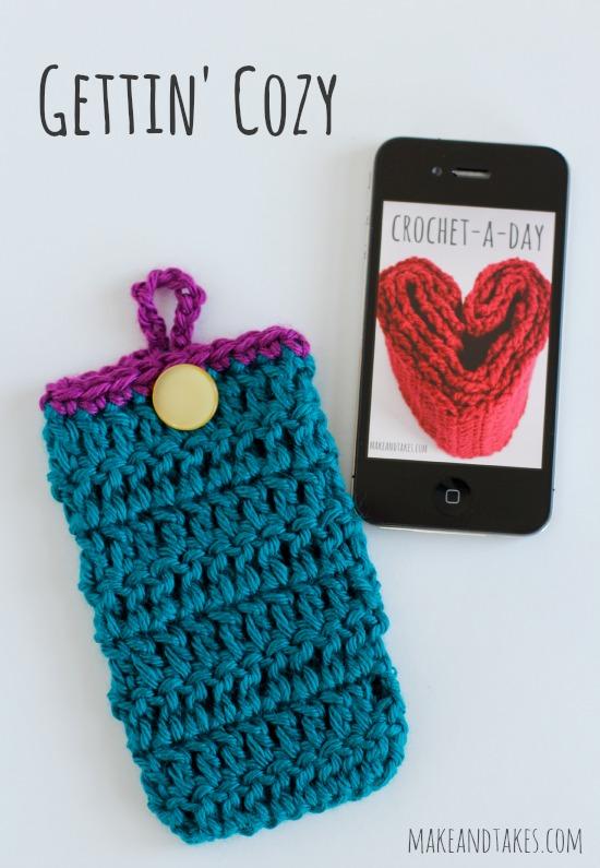 Crochet Button Phone Cozy Tutorial @makdandtakes.com #crochetaday