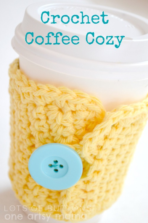 Crochet Coffee Cozy Pattern with a Button by oneartsymama.com