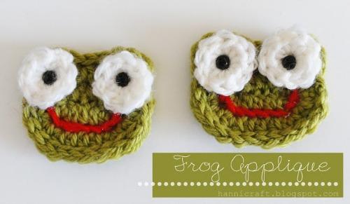 Crochet Frog Applique from hannicraft.blogspot.com