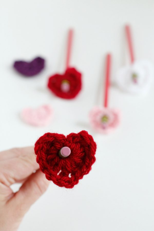 Crochet Heart Pencil Toppers YarnFix.com