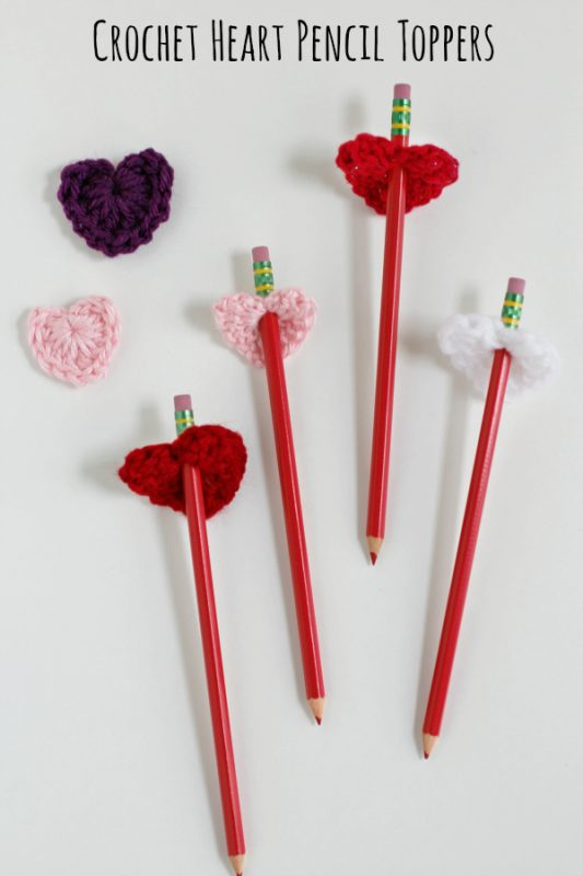 Crochet Heart Pencil Toppers on Valentines - Yarn Fix