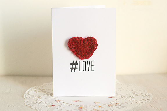 Crochet Heart Tutorial for Valentine's Day with Printable Card