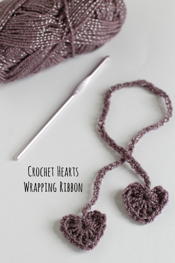 Crochet Hearts Wrapping Ribbon Tutorial