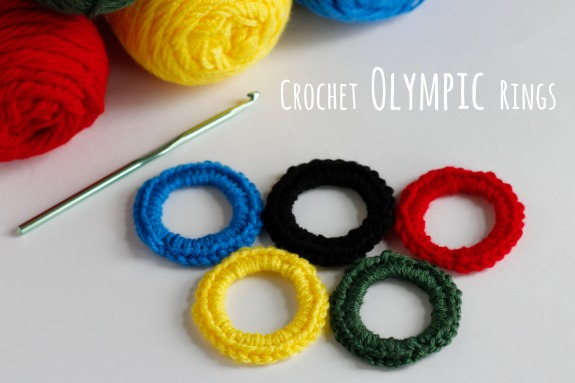 Crochet Olympic Rings @makeandtakes.com