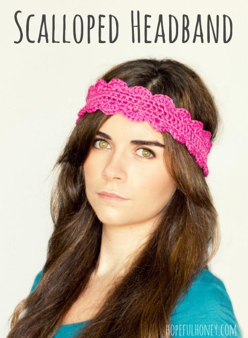 Crochet Scalloped Headband Pattern by hopefulhoney.com @makeandtakes.com
