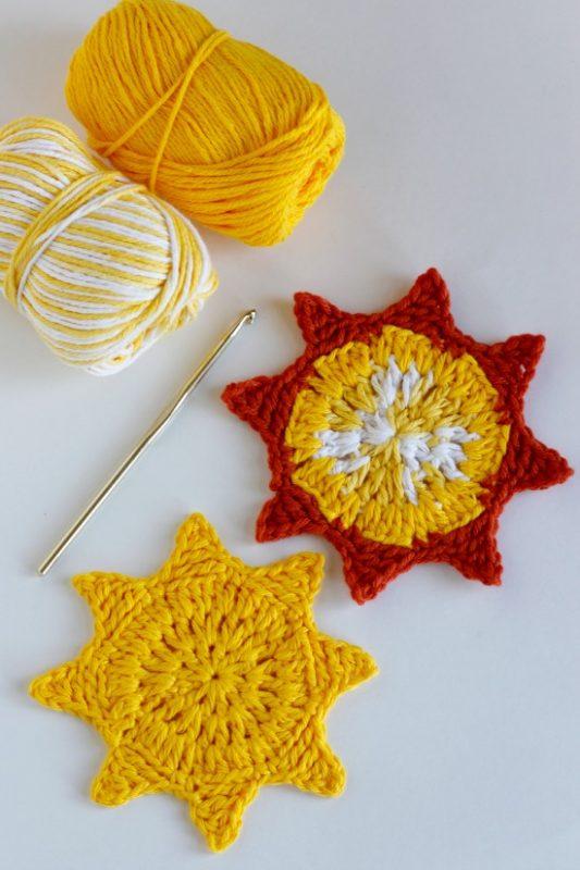 Crochet Sun Coasters Free Pattern to Make