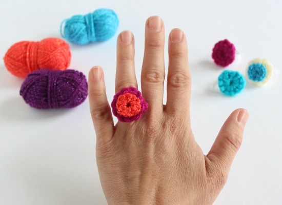 Crochet a Mini Circle Ring for Mom makeandtakes.com