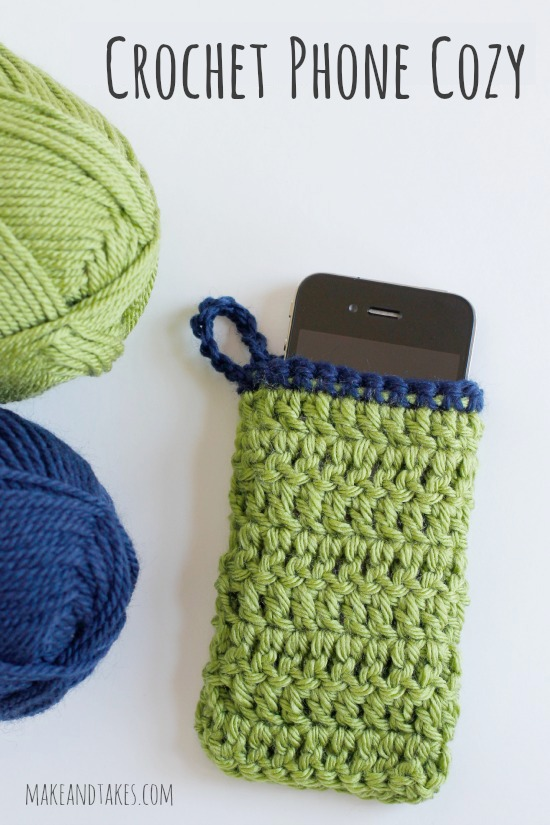 Crochet a Phone Cozy @makeandtakes.com #crochetaday