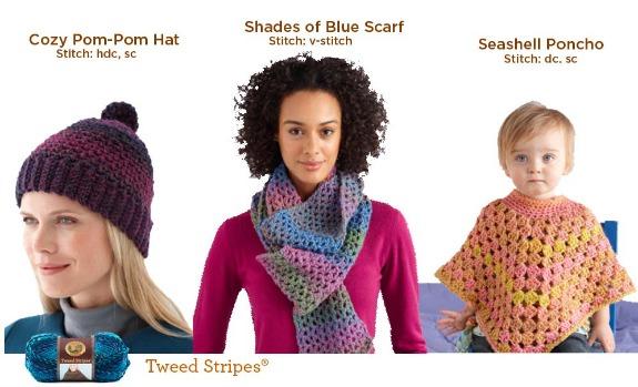 CrochetADay Tweed Stripes Lion Brand Yarn