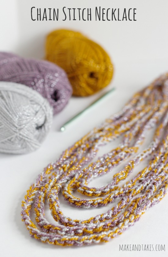 Crocheting a Chain Stitch Necklace @makeandtakes.com #crochetaday