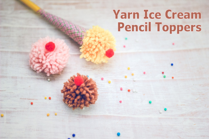 Cute yarn pom pom ice cream pencil topper