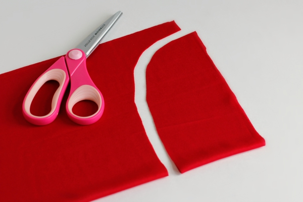 Cutting out a superhero cape for kids