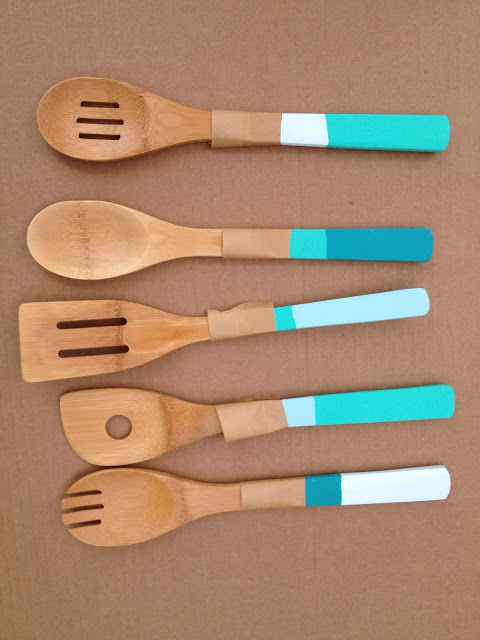 DIY Dipped Color Blocked Spoons