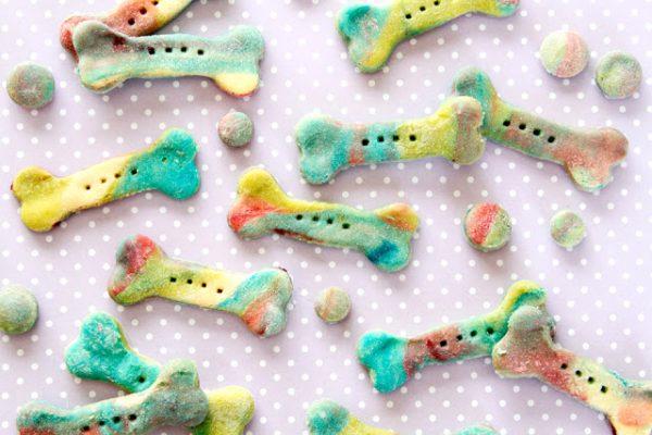 "Homemade ""Unicorn Bone"" Rainbow Marbled Dog Treats"