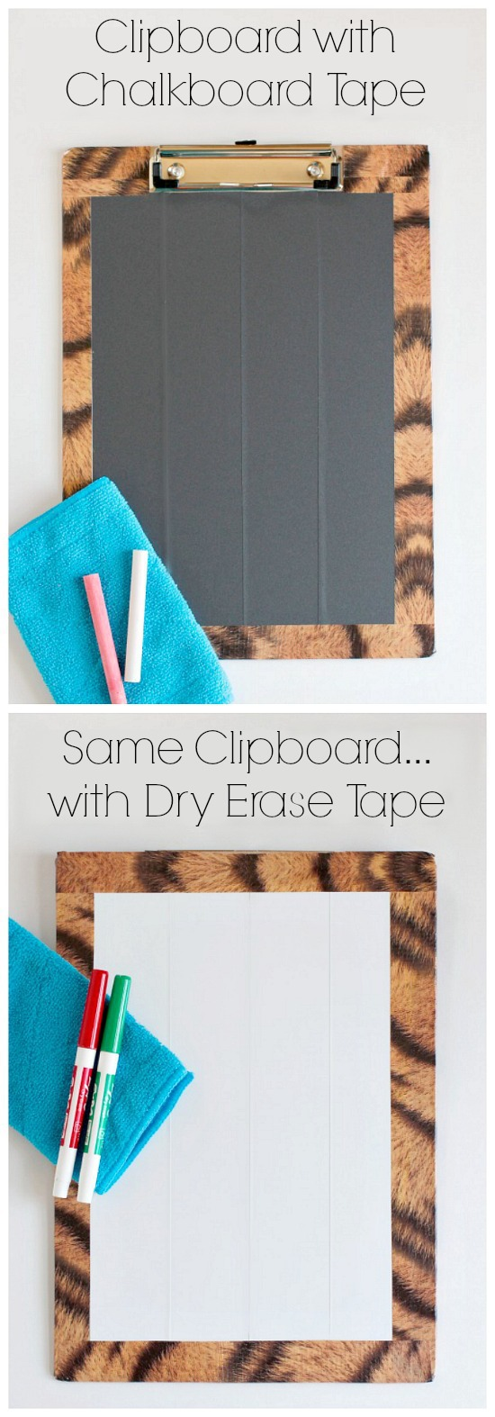 DIY Double-Sided Clipboard with Chalkboard and Dry Erase Tape