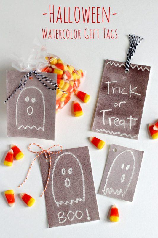 DIY Halloween Watercolor Gift Tags @makeandtakes.com