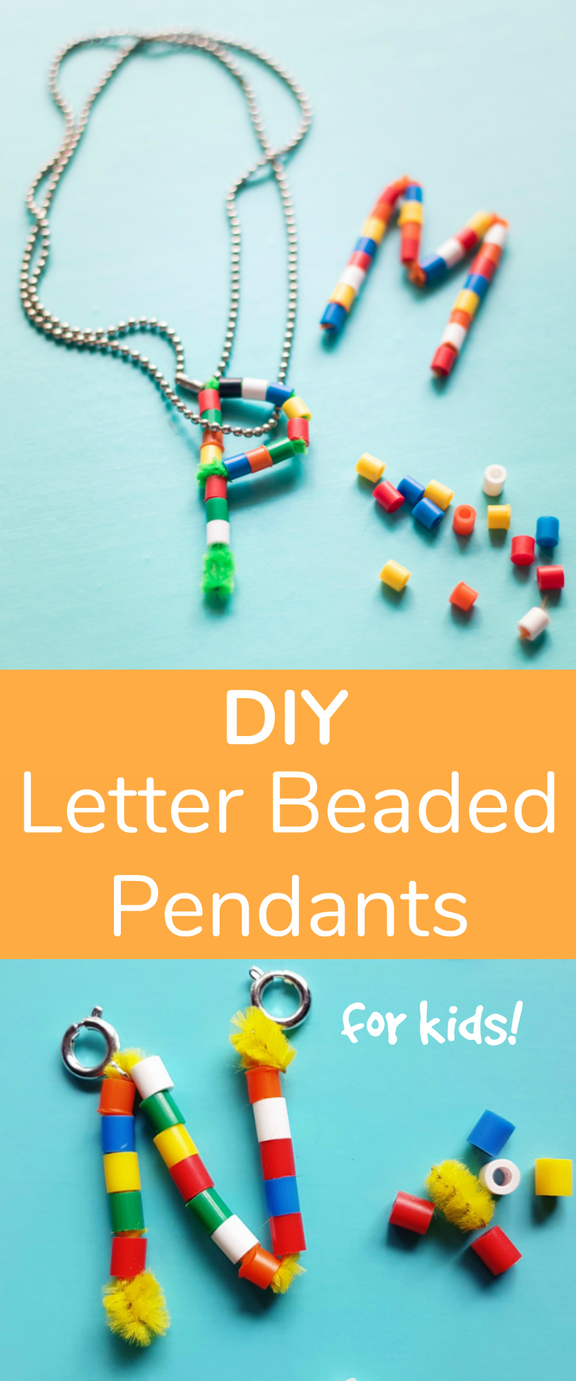 DIY Letter Beaded Pendants for Kids