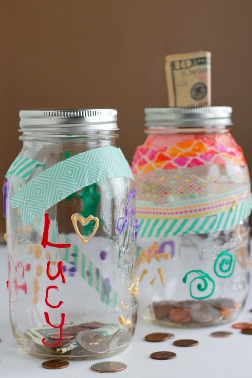 DIY Mason Jar Money Bank for Kids
