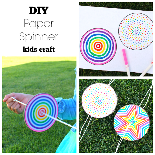 Diy paper spinner for endless fun make and takes for Easy things to make out of paper for kids