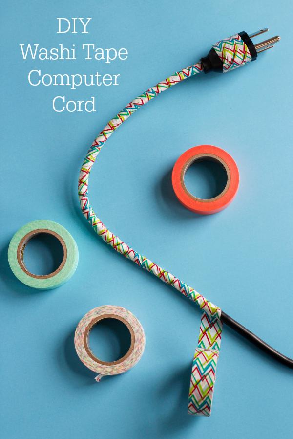 DIY Washi Tape Computer Cord Tutorial