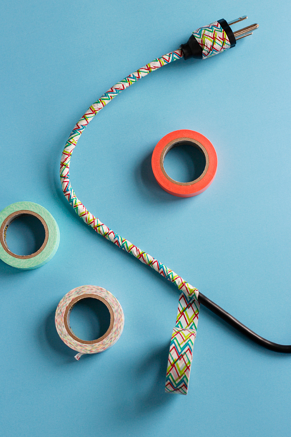 DIY Washi Tape Computer Cord Wrap