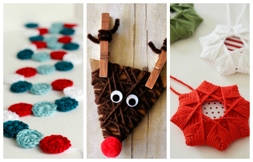 9 diy yarn ornaments to adorn your christmas tree make and takes