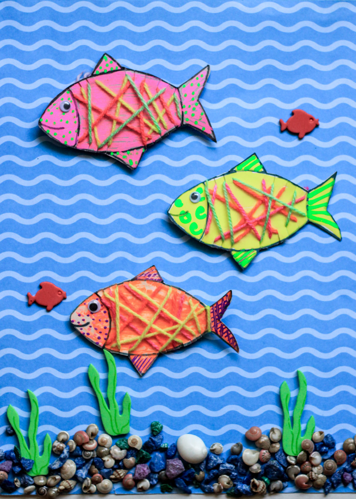 DIY Yarn Wrapped Cardboard Fish Kids craft