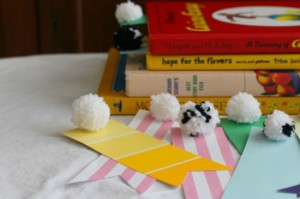 DIY for Kids Paint Chip Paper and Pom Pom bookmarks