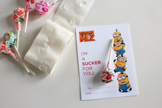 Despicable Me Sucker Valentines Day Printables