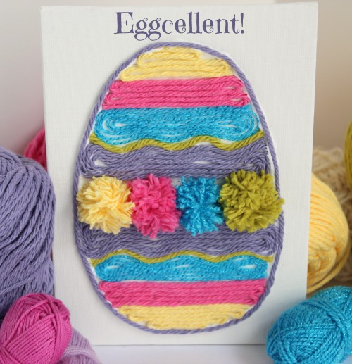 Displaying Yarn Art for Easter makeandtakes.com