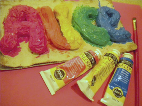 Painting a Paper Mache Name Sign