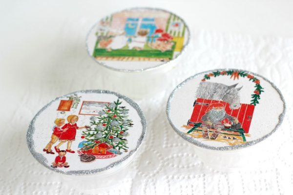 Drying Glitter Coaster Ornaments
