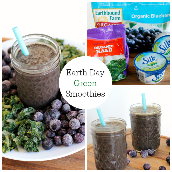 Earth Day Green and Blue Smoothie Drink Recipe